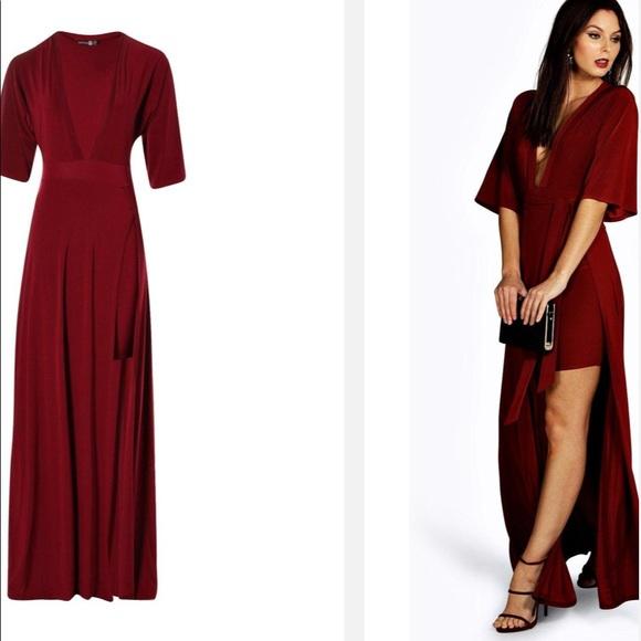 b44563436de8 Boohoo Dresses | Nwt Celyn Slinky Plunge Kimono Maxi Dress 4 | Poshmark